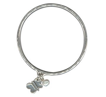 Danon pewter bangle dipped in Stirling Silver with butterfly and pearl pendants.