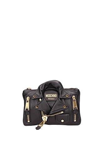 Pochette Moschino Donna Pelle Nero e Oro 7A840380020555 Nero 16x25 cm