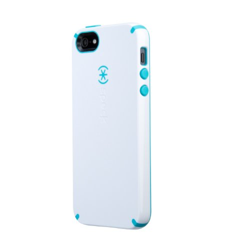 Speck Products SPK-A0478 CandyShell Case for iPhone 5 and iPhone 5S - Retail Packaging - White/Peacock Blue