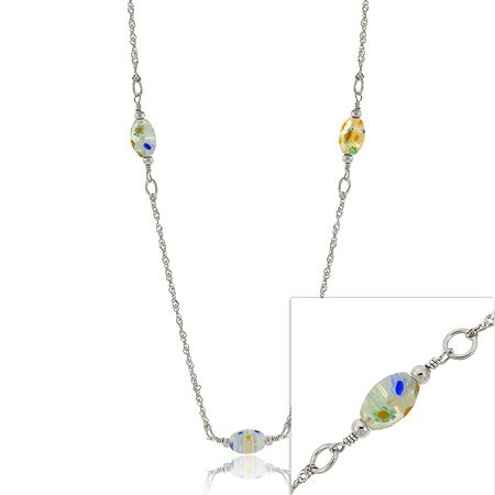 Silver .925 MURANO Glass Millefiori Bead NECKLACE 20