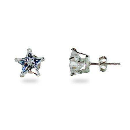 Sterling Silver Diamond Cubic Zirconia Star Stud Earrings