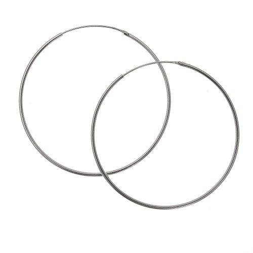 Sterling Silver 40 mm Plain Hoop Earrings