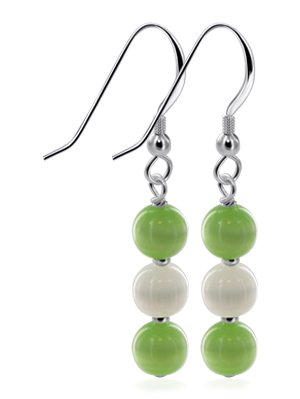 SCER445 Made with Swarovski Elements Green Cat Eye Beads Sterling Silver French Hook 1.5