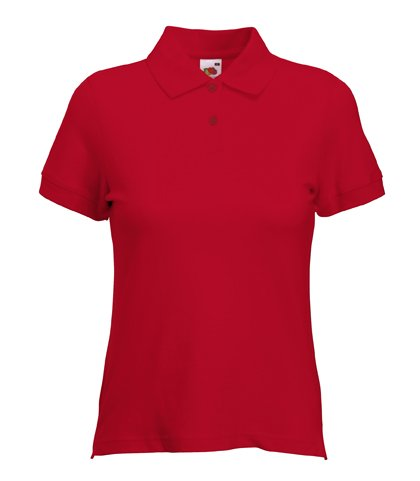 Fruit of the Loom Lady-Fit Polo in Red Size M/12