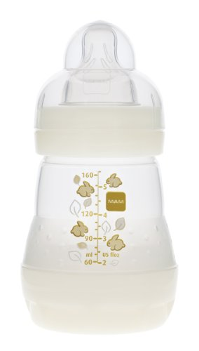 MAM Anti-Colic Bottle Single, White, 0-6 Months