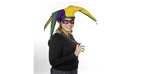Felt Mardi Gras Jester Hat with Bells (no mask or beads)