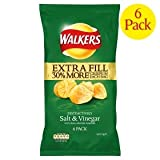 Walkers Extra Fill Salt & Vinegar Crisps 6 Pack 175g