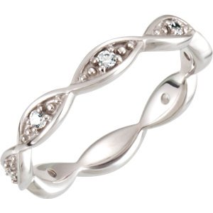 14kt White 1/6 CTW Diamond Infinity Design Eternity Band 6 ,Size- 6
