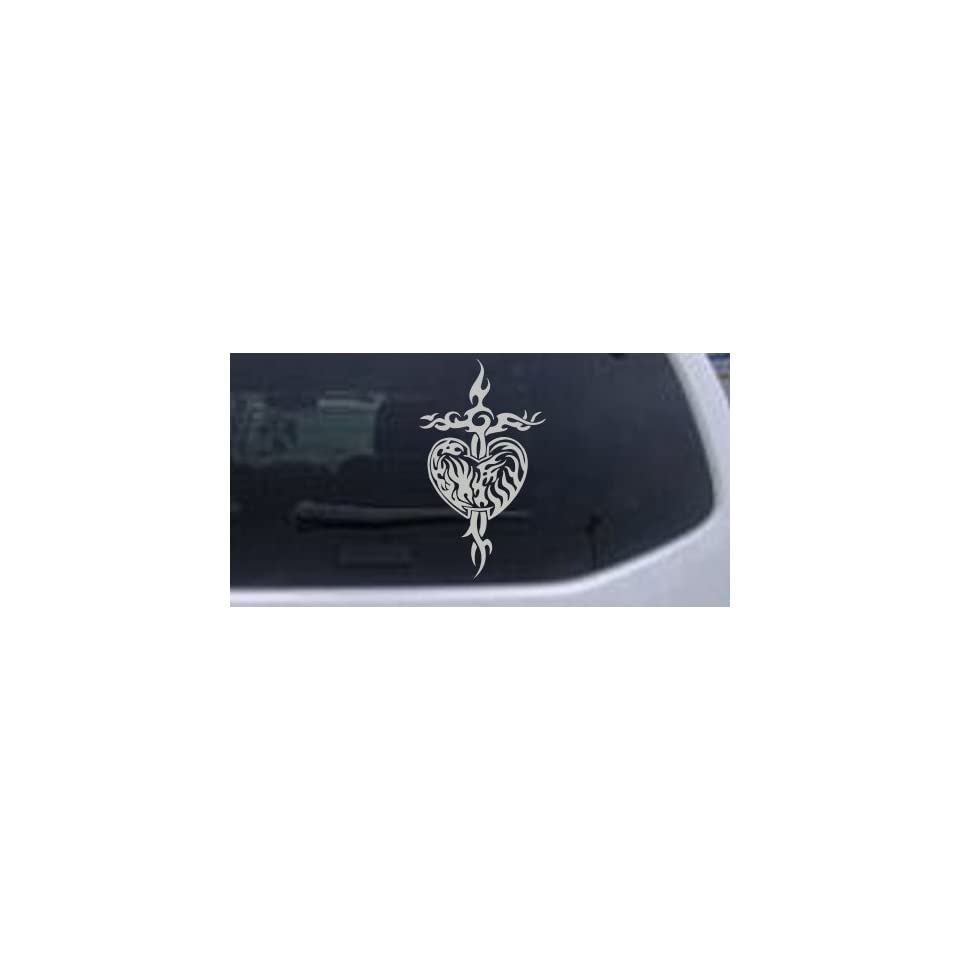 Tribal Heart and Cross Car Window Wall Laptop Decal Sticker    Silver 34in X 19.8in