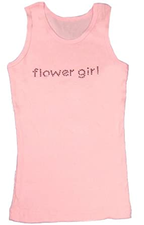 Rhinestone Flower Girl Tank Top in White, Pink or Black with Pink Crystals (12/14, Black)