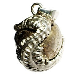 Solid 925 St Sterling Silver Seahorse Ocean Fish Harmony Ball Music Musical Chime Pendant Jewelry 14.5 MM In Diameter Made In Bali By Master Silver Smiths On A Beautiful 925 St Sterling Silver Heavily Plated Chain