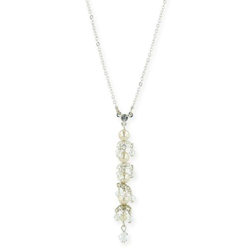 Cluster Drop Faux Pearl Sparkling Crystal Silver Tone Necklace