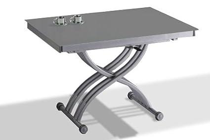 table relevable verre gris. Black Bedroom Furniture Sets. Home Design Ideas