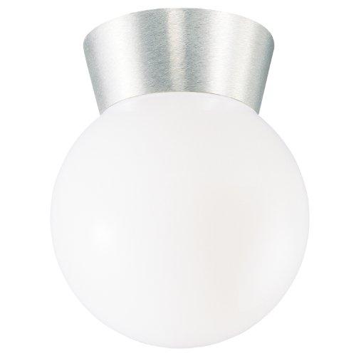 Westinghouse 6798000 1-Light Flush-Mount Exterior Fixture, Brushed Aluminum Finish On Cast Aluminum With White Glass Globe