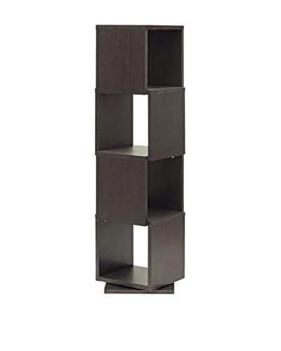 Baxton Studio Ogden 4-Level Rotating Bookshelf, Espresso