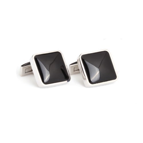 Digabi Men's Jewelry Silver Plated Black Cufflink