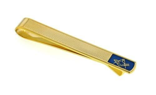 Elegant gold plated and blue enamel tie slide with masonic symbol. Presentation boxed