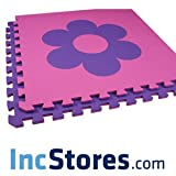 Soft Shapes Foam Flooring Tiles EVA Interlocking 2'x2' Mats Baby Infant Toddler 12 Tile Packs (Flower - Pink/Purple)