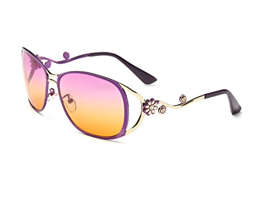Konalla Little Flower Full Metal Frame Fashion Flash Lenses Women's Sunglasses C3