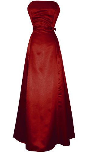 50's Strapless Satin Long Gown Bridesmaid Prom Dress Holiday Formal Junior Plus Size, Medium, Red