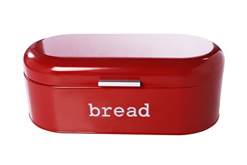 Bread Box For Kitchen - Bread Bin Storage Container For Loaves, Pastries, and More 17 x 9 x 6 Inches, Red by Juvale (Retro Kitchen Bread Box compare prices)