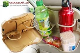 Foldable Car Dining Tray Bag Back Seat Drink Bottle Rack Cup Holder Stand Travel