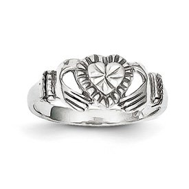 Genuine IceCarats Designer Jewelry Gift 10K White Gold Polished Claddagh Ring Size 6.00