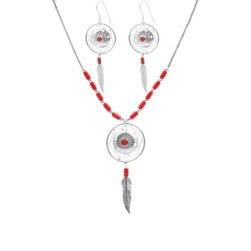Red Coral Sterling Silver Dream Catcher Earrings and Necklace Set 18