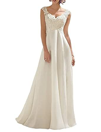 jaeden elegant v neck a line lace chiffon long beach With amazon beach wedding dress