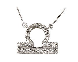 Diamond and White Gold Libra Zodiac Pendant