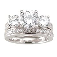 Sterling Silver Cubic Zirconia CZ Three Stone Wedding and Engagement Ring Set Size 5