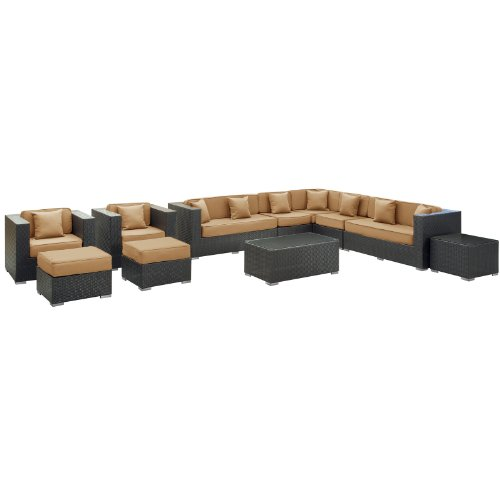LexMod Cohesion 11-Piece Outdoor Rattan, Espresso with Mocha Cushions