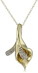 10k Yellow Gold Calla Lily Diamond Pendant (0.06 cttw, I-J Color, I2-I3 Clarity), 18
