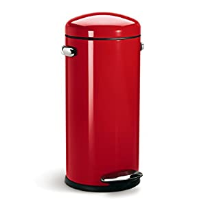 simplehuman round retro step trash can red steel 30 l 8 gal home kitchen. Black Bedroom Furniture Sets. Home Design Ideas