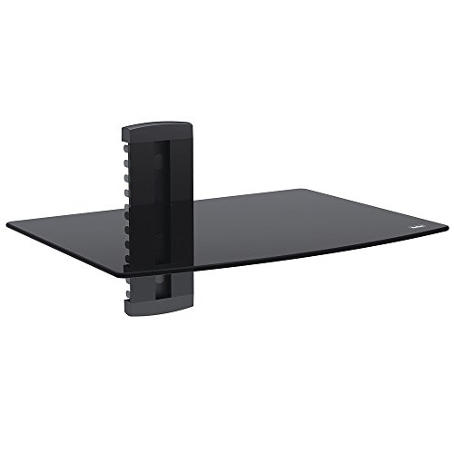 VonHaus 1x Black Floating Shelf with Strengthened Tempered Glass for DVD Players/Cable Boxes/Games Consoles/TV Accessories