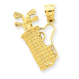 14k Solid Polished Golf Bag with Clubs Charm - Measures 24.7x16.4mm - JewelryWeb