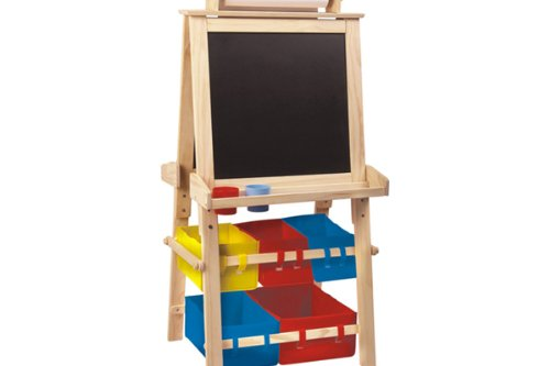 4 in 1 Easel - Whiteboard, Black Board, Buckets for Storage and Roll of Paper