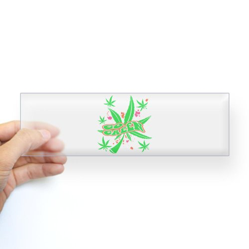 Bumper Sticker Clear Marijuana Go Green Neon