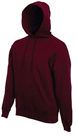 "FRUIT OF THE LOOM HOODED SWEATSHIRT HOODIE - 18 COLOURS ALL SIZES (Large / 42"" -44"", Burgundy)"