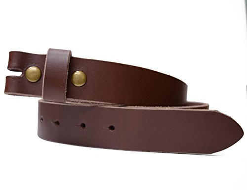 "LS -Toneka Steampunk Narrow Cowhide Full grain Leather Belt Strap with interchangeable Snap Button Width 1.25 inches (36(fits 34"" waist), Brown)"
