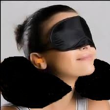 Black Travel / Flight Kit - Inflatable Neck Pillow / Eye Mask / Ear Plugs