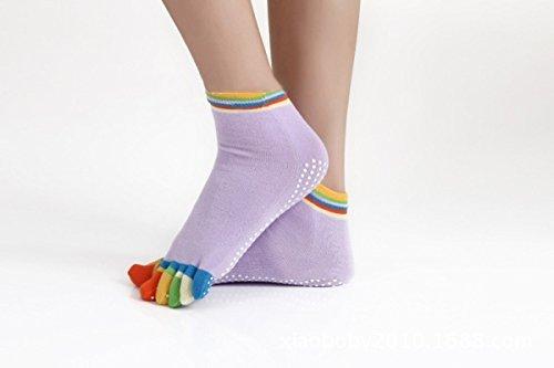 Colorful Antislip Sports Yoga Socks Fitness Cotton Massage Socks Women Pilates Socks-Color Random by PPSTORE99