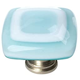 Luster Square Knob Base Finish: Satin Nickel, Color: Light Aqua