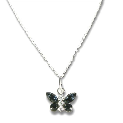 Butterfly Necklace with SWAROVSKI ELEMENTS Crystal Montana Dark Blue Rhinestones in Sterling Silver