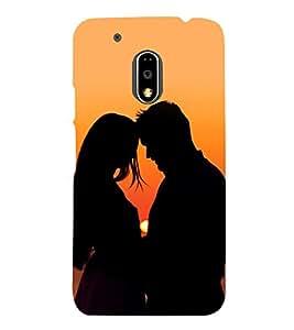 printtech Love Couple Sunset Back Case Cover for Motorola Moto G4 Plus / Motorola Moto G4