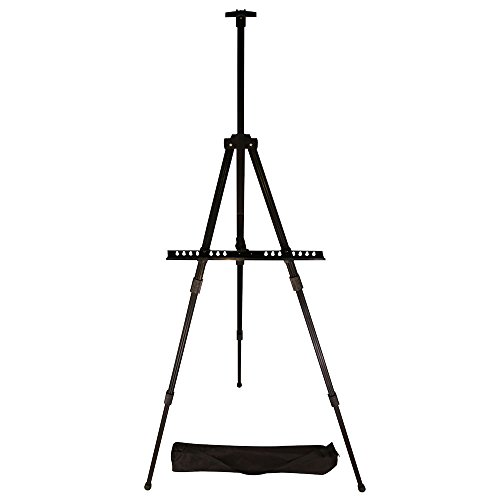 Easel, Berland Black Aluminum 71 Inches Tall, Portable, Lightweight and Sturdy Telescoping Tripod for Tabletop or Floor - Perfect for Field, Display and Presentation - Includes Carry Bag (Painting Easel Light compare prices)