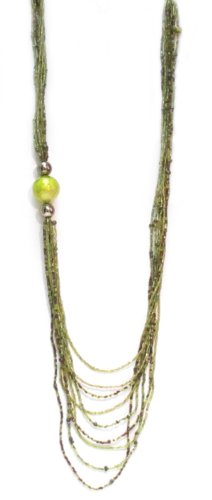 Multi-Strand Lime Green Tone on Tone Round Motif Long Necklace-Length 104cm