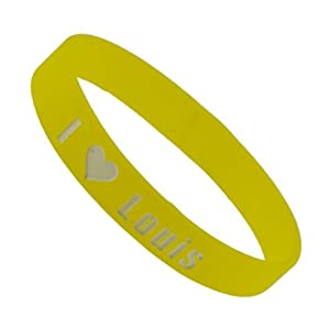 Yellow One Direction Wristband I Love Louis Wristband Bracelet 05 Wide 18 from Hinky Imports