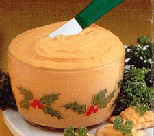 Cheddar Cheese Spread in a Holly Berry Bowl