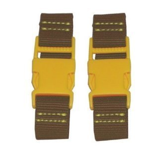 "Kalencom 4.25"" Stroller Straps - Brown with Yellow Clips - 1"
